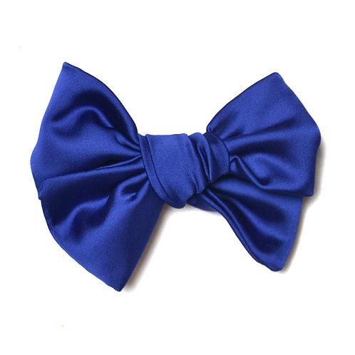 Barrette noeud Satin bleu électrique