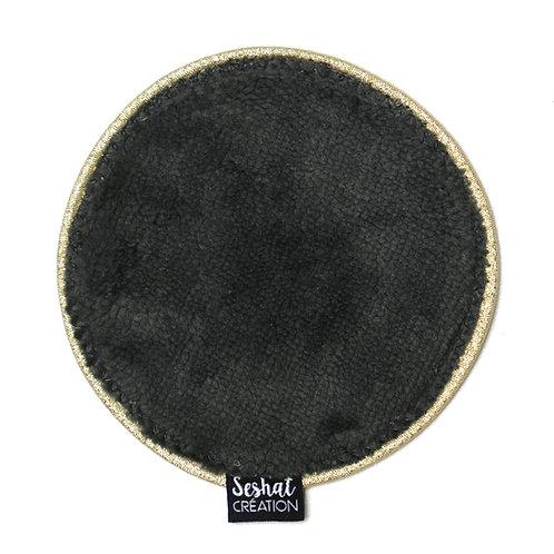 Grande lingette lavable ronde double face, gris anthracite, à l'unité