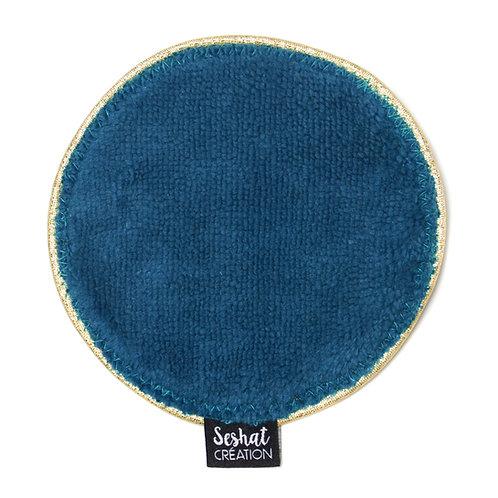 Grande lingette lavable ronde double face, bleu paon, à l'unité