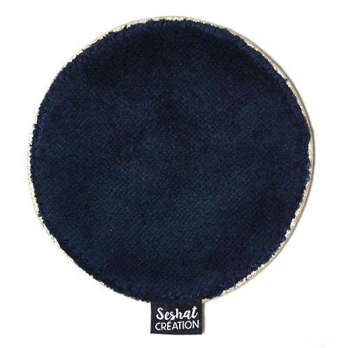 Grande lingette lavable ronde double face, bleu marine, à l'unité