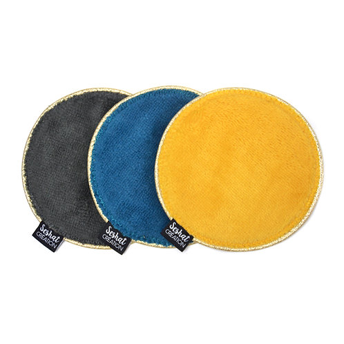 Lot de 3 grandes lingettes lavables rondes double face, assortiment n°10