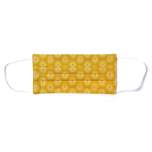Masque de protection en tissu, réutilisable, modèle Solar, jaune moutarde