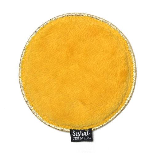 Grande lingette lavable ronde double face, jaune moutarde, à l'unité