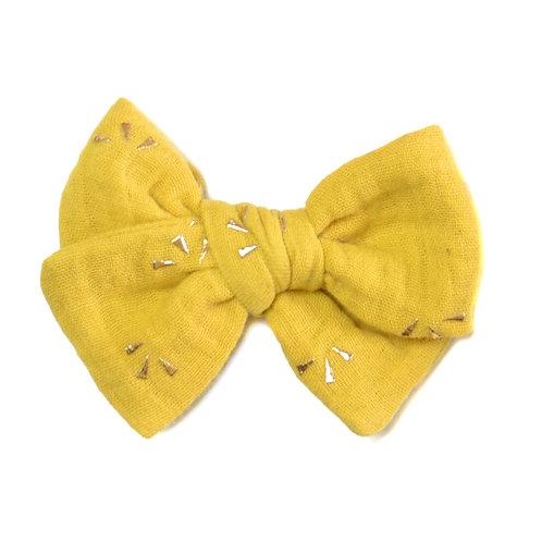 Barrette noeud Galaxie jaune moutarde