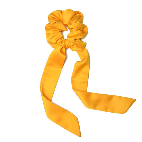 Chouchou ruban satin jaune tournesol
