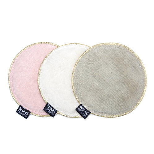 Lot de 3 grandes lingettes lavables rondes double face, assortiment n°3