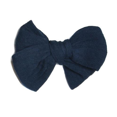 Barrette noeud Basic bleu nuit