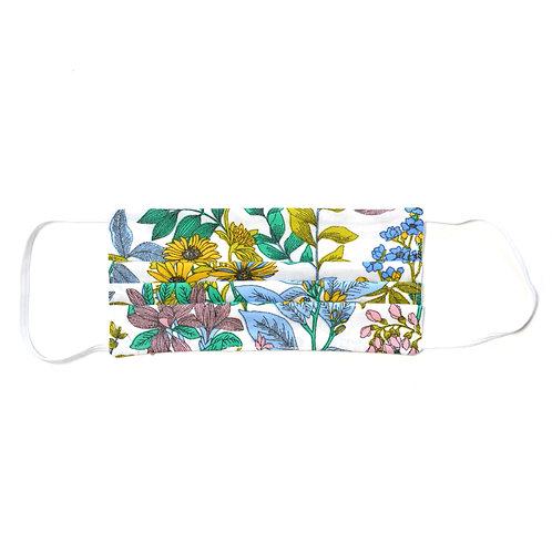 Masque de protection en tissu, réutilisable, modèle Garden, blanc