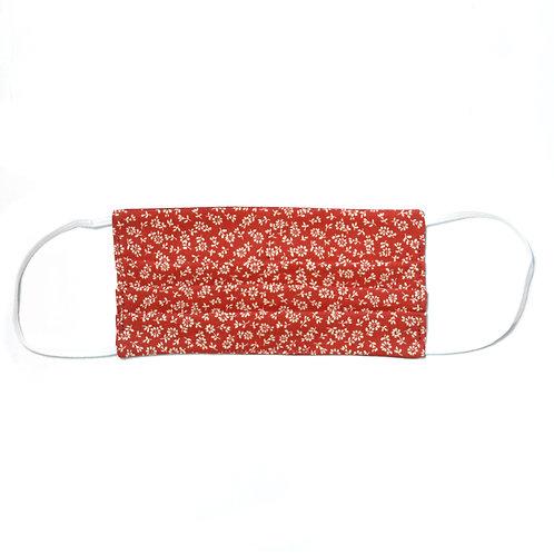 Masque de protection en tissu, réutilisable, modèle Fleurs d'automne, rouge