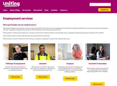 Uniting Vic Tas Website - Employment Services  landing page