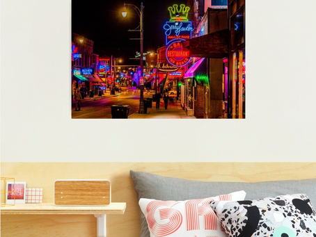 The Neon Lights Of Beale Street,Memphis - Photographic Print Purchased