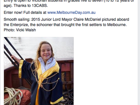 Melbourne Day Junior Lord Mayor call out