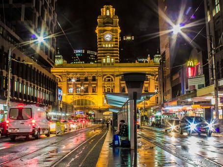 Flinders Street Station on a wet Melbourne night