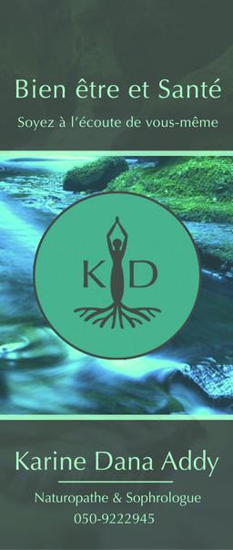 Creation d'une charte graphique et déclinaison tout supports (ici kakémono) pour Karine Addy, sophrologue et naturopathe