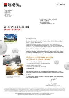 """création et mise en page d'un courrier """"cartes collections"""" pour Société Générale"""