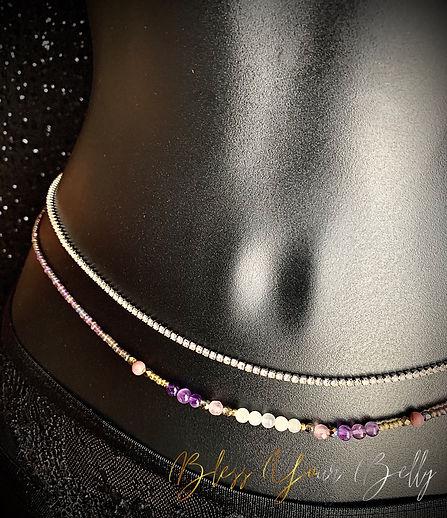 waist beads amethyst moonstone