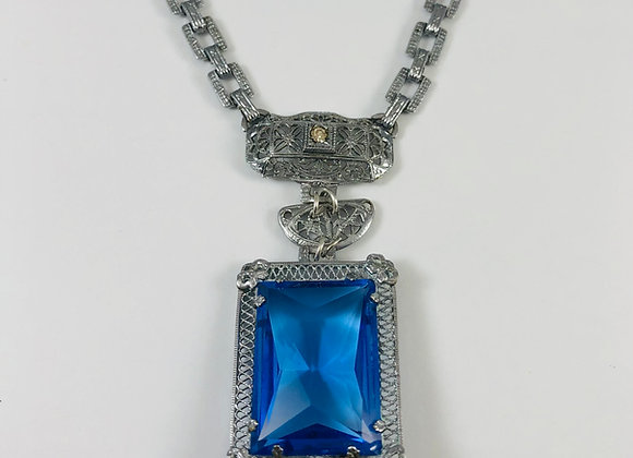 Art Deco Bright Blue Crystal and Rhodium Necklace