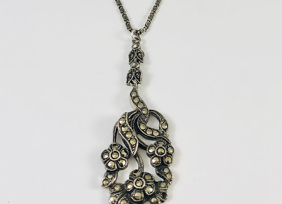 1920s Sterling Marcasite Pendant Necklace
