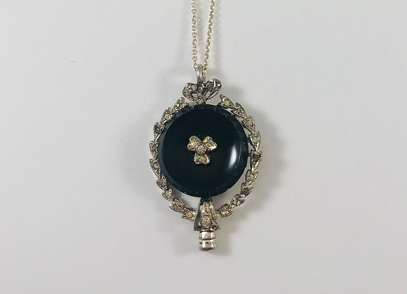 Victorian Onyx, Diamond and Sterling Necklace with 3-Leaf Clover