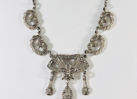 1950s Art Deco Revival Sterling and Marcasite Lavaliere Necklace