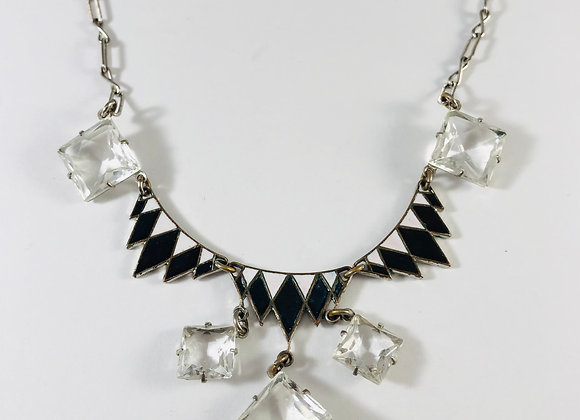 1920s French Enamel and Crystal Necklace