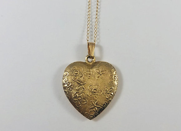1930s 14k Stamped Heart Necklace