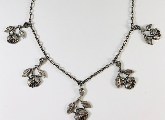 Sterling Rose-Theme Fringed Charm Necklace