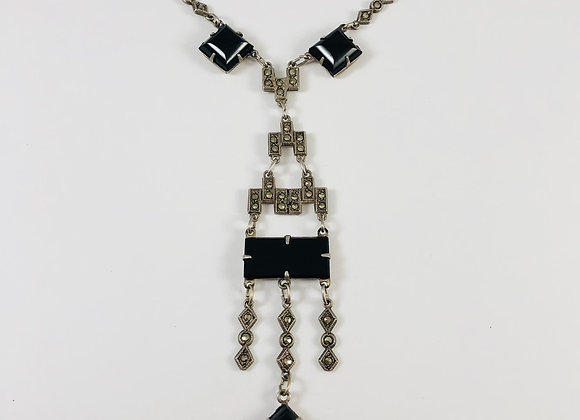 Art Deco, Sterling, Crystal and Marcasite Lavalier Necklace