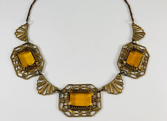 Art Deco Cognac Glass Necklace