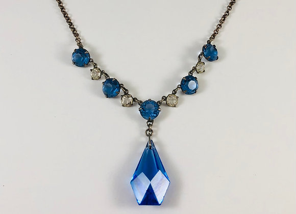 1920s Art Deco Open Back Crystal Drop Necklace
