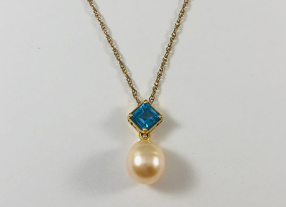 18K Pearl and Blue Topaz Necklace