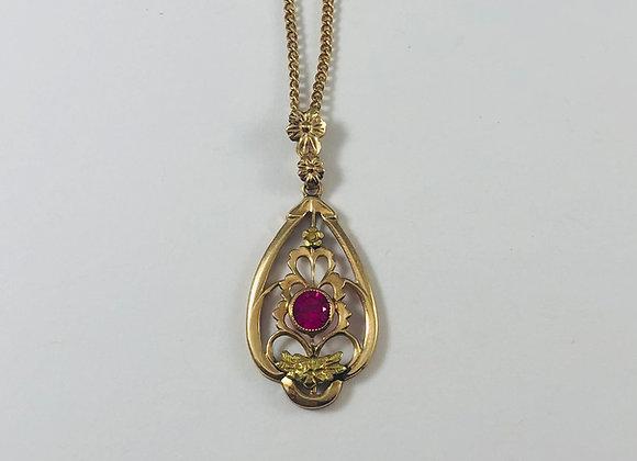 Art Nouveau 10K Sautoir Simulated Ruby Necklace