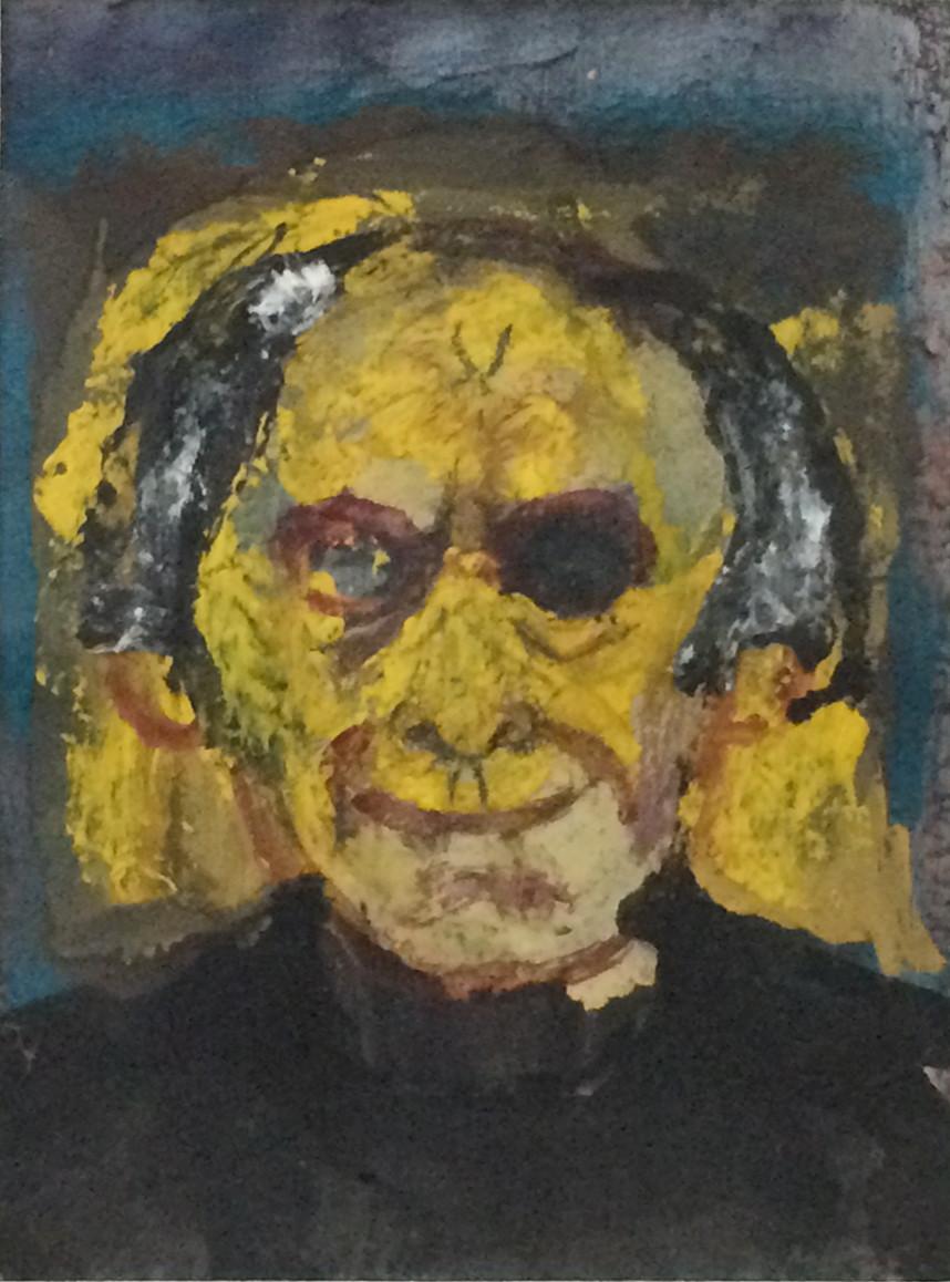 "Martin Lubner ""Yellow, black: Self-portrait - smile"" (2005) Self-portrait, mixed media on board 13"" x 8 5/8"""