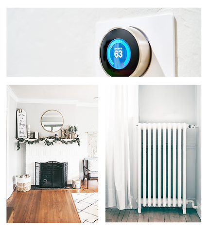 heating services collage of Nest thermostat,  fireplace and decor, and radiator