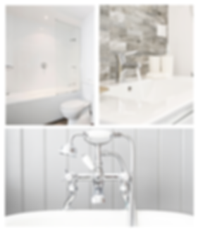 Residential and commercial water heater services collage of bathroom shower, faucet, and soaker tub