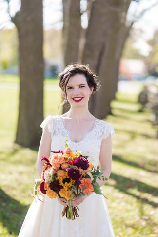 ann arbor bride wearing bold lip