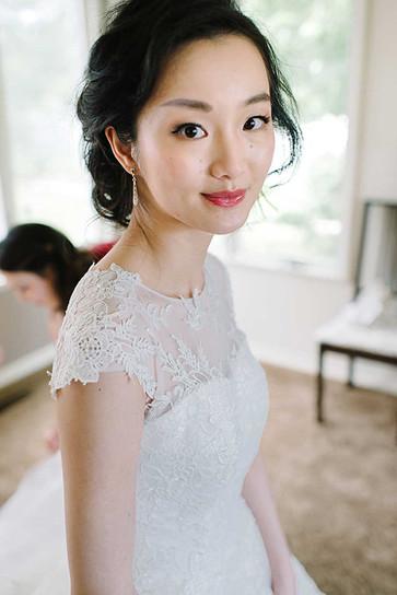 East Asian Ann Arbor bride wearing natural makeup