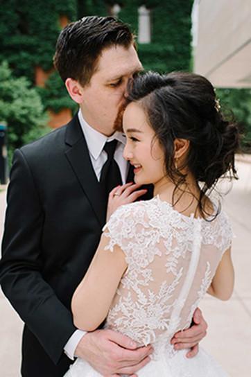 East Asian Ann Arbor bride wearing low loose updo