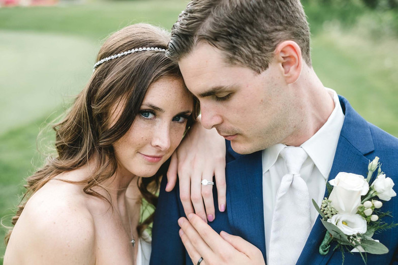 detroit bride with fiance wearing natural makeup and hair