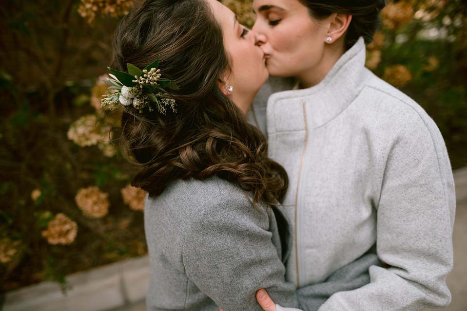 same sex ann arbor brides kissing