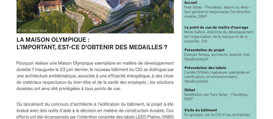 Visite de la nouvelle (et durable) Maison Olympique, à Vidy (03.09.19)