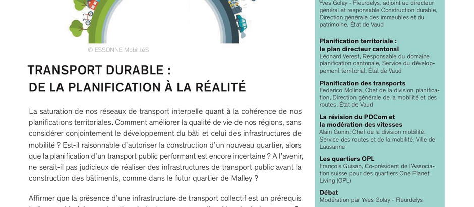 Transport durable : de la planification à la réalité (23.09.2019)