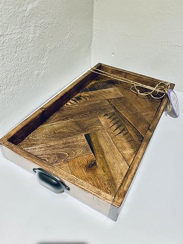 Wooden Tray (metal handles)