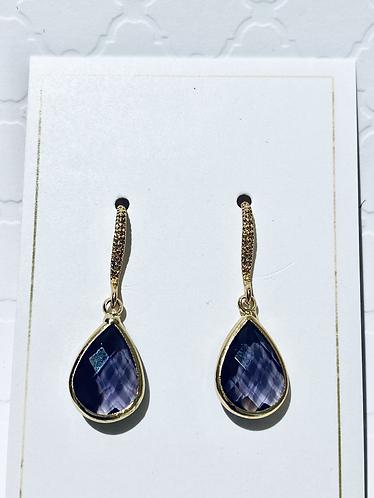 Gold & Purple Tear Drop Earrings