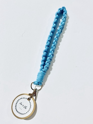 Blue Macramé Wristlet Keychain