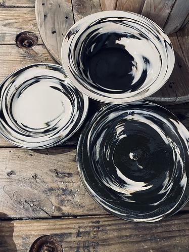 White & Black Swirl Set