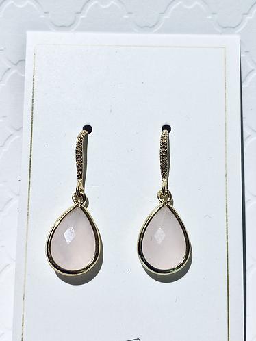 Gold & Pink Tear Drop Earrings