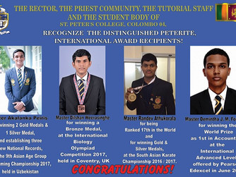 FELICITATION CEREMONY FOR DISTINGUISHED PETERITE, INTERNATIONAL AWARD RECIPIENTS.