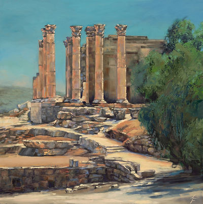 Jerash, Jordan, Temple of Artemis, Antiquity, Oil & Cold Wax Painting