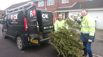 Collecting trees for St Richard's Hospice: The Rock Team has it down to a pine art